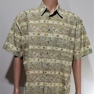 Pierre Cardin Tropical Print Button Down Shirt L